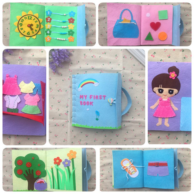 Quiet Book Mom DIY For Baby Early Learning Toys 12Pages Pregnant Woman Handmade Sewing Baby First Book Gift Felt DIY Package