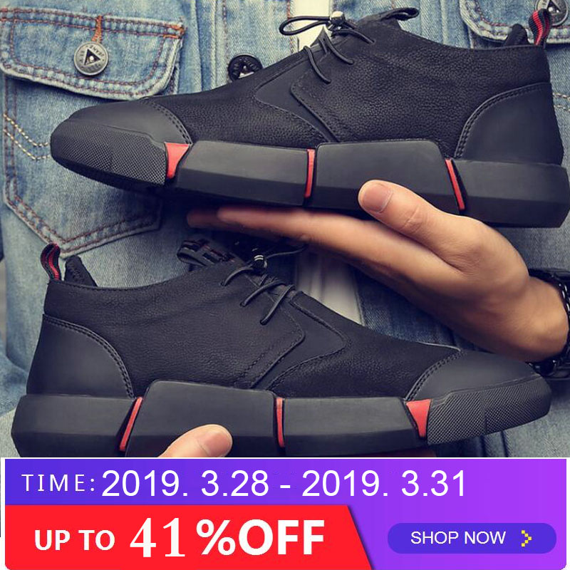 NEW Brand High quality all Black Men's leather casual shoes Sneakers Shoes 2019 New brand arrived flats walking shoes LG 00