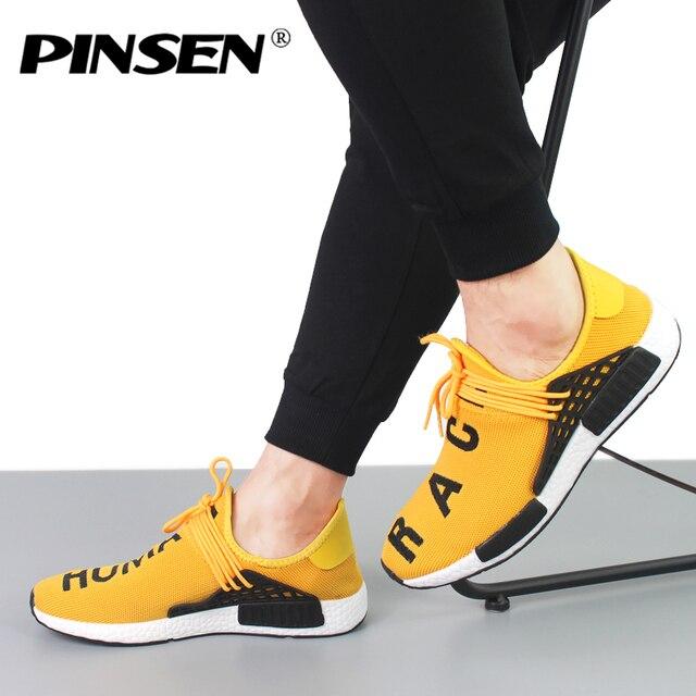 PINSEN кроссовки Для мужчин новый 2018 человеческой расы унисекс весна Повседневное Мужская обувь Дышащая обувь на плоской подошве обувь Для мужчин кроссовки обувь chaussure homme