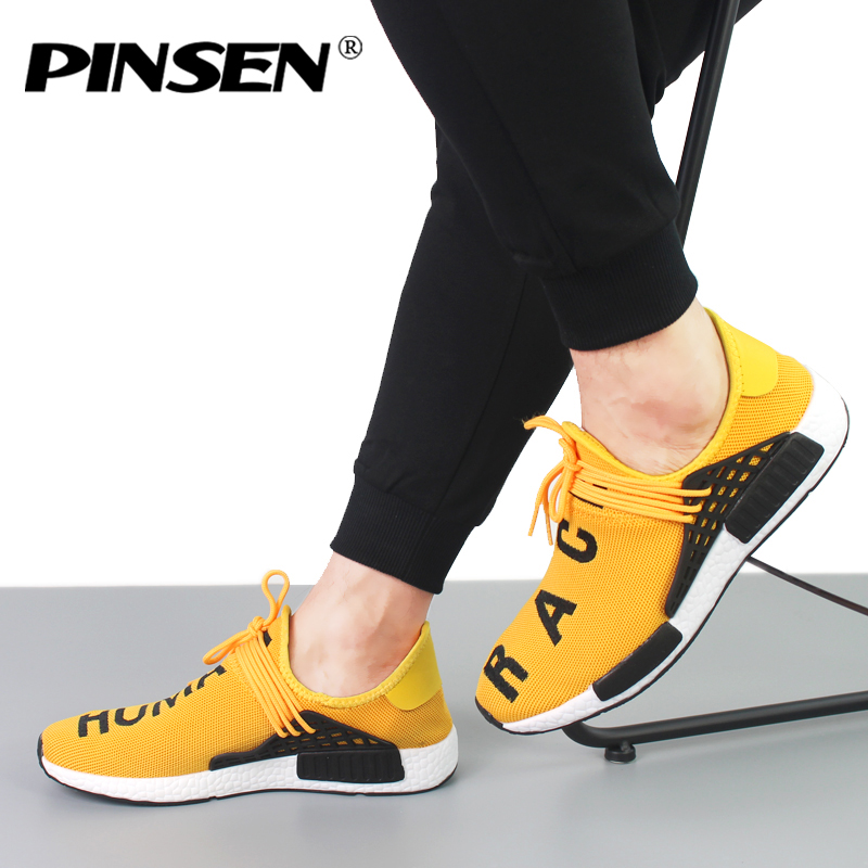 PINSEN Sneakers Men New 2018 human race Unisex Spring Casual Men Shoes Breathable Flats Shoes Men Trainers Shoes chaussure homme 2017new men casual shoes elastic breathable massage flats shoes spring summer men s flats men sapatos chaussure homme masculinos