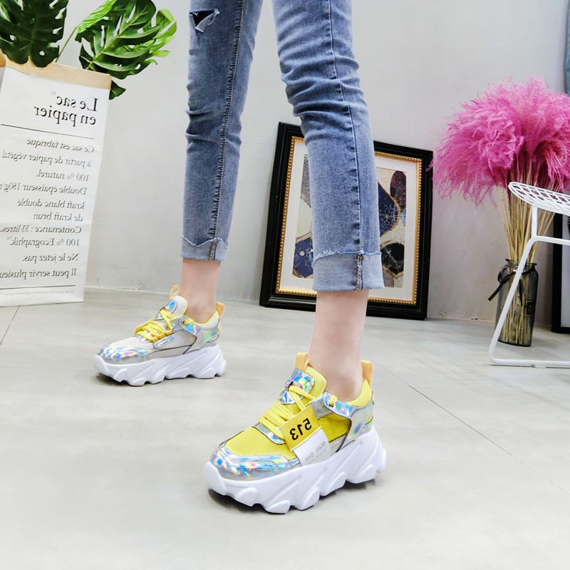 Honey New Spring Women Platform Wedge Reflective Shoes Casual Thick Sole Girl Shoes Lady Mash Lace Up Colorful Sneakers Shoes Qdd-66 Buy One Get One Free