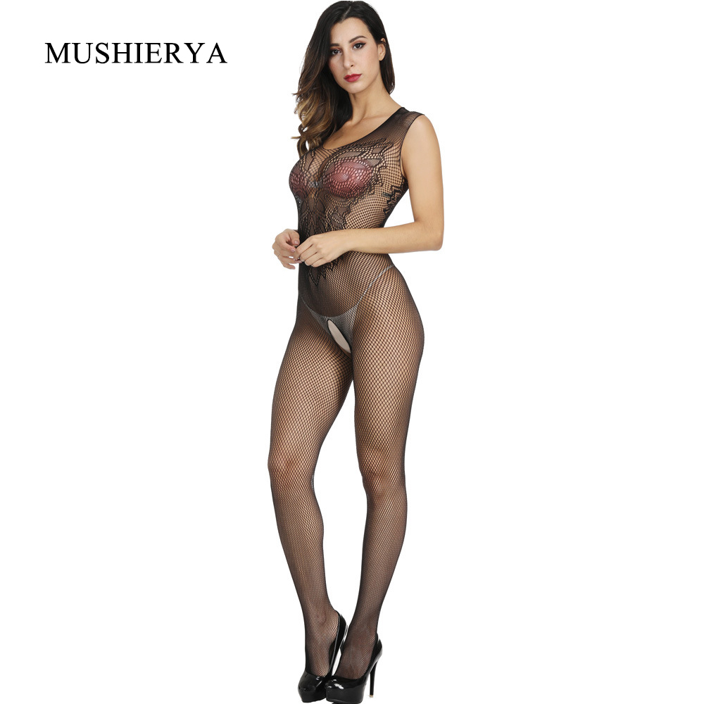 MUSHIERYA Porn <font><b>Women</b></font> Transparent Bodystocking <font><b>Sexy</b></font> Lingerie For Sex <font><b>Catsuit</b></font> Elastic Open Crotch Fishnet Body Stockings Sleepwear image