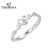 Todorova New Minimalist Rhinestones Crystal Heart Shaped Wedding Rings for Women Love Finger Ring Best Friend Dropshipping