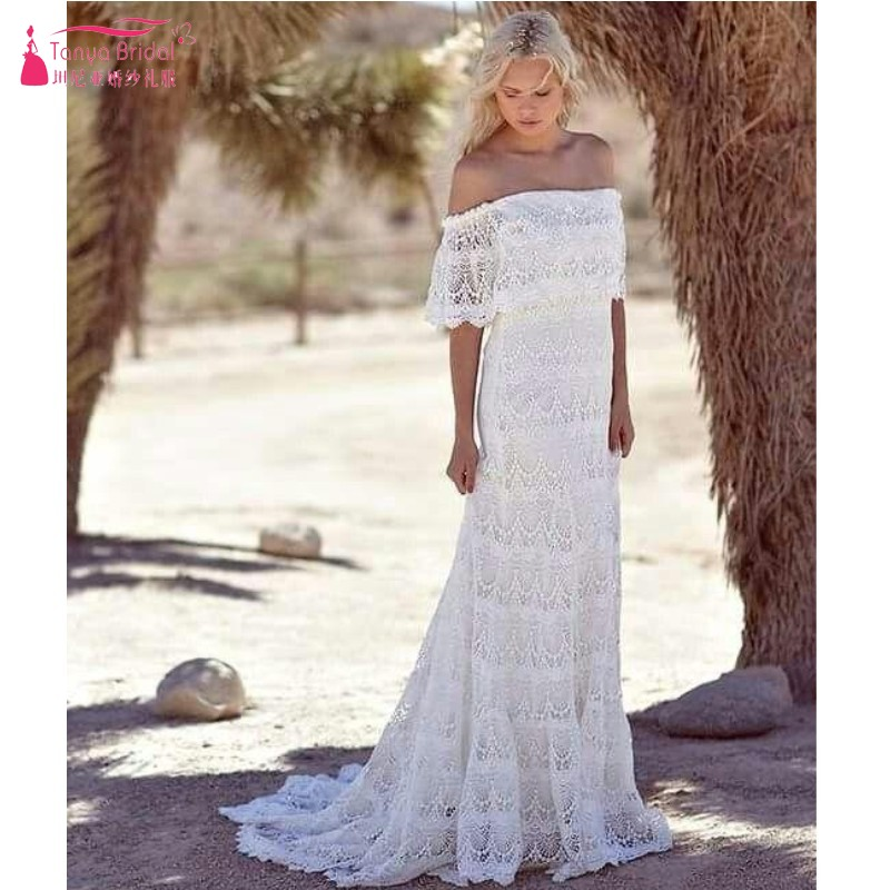 Simple Full Lace Country Boho Wedding Dresses Off The Shoulder Sweep Train Short Sleeves Cheap Beach Bohemian Bridal Gowns JQ241