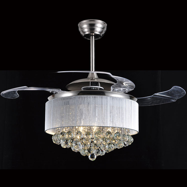Ceiling Fans crystal LED light stealth luxury living room restaurant hotel ceiling fan lights wall control ZA