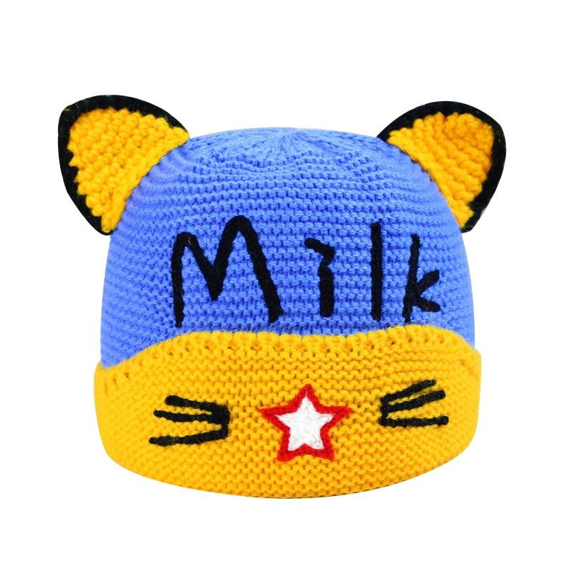 Cartoon Knitting Baby Winter Hat Velvet Warm Baby Boys Beanie With Cat Ears Crochet Pattern Infant Beanie For Baby Girls New