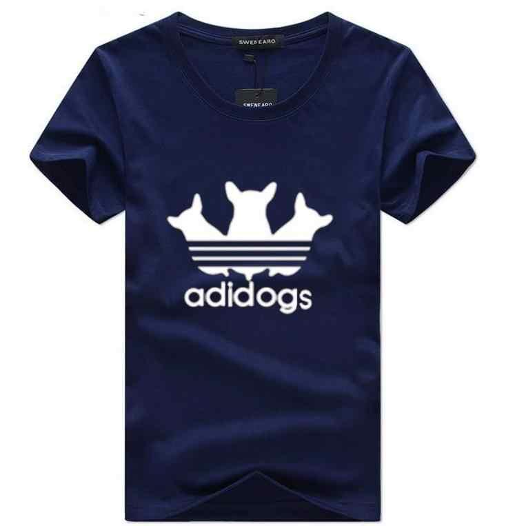 SWENEARO 2019 летняя новая одежда с круглым вырезом и коротким рукавом, Мужская футболка с принтом Adidogs, повседневные мужские футболки, топы 5XL