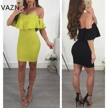 VAZN 2018 New Arrive Famous Brand Bandage Dress Short Sleeve Mini Dress Sexy Strapless Club Dress L0184