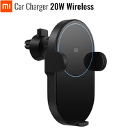 Xiaomi Mijia Wireless Car Charger 20W Max Electric Auto Pinch 2.5D Glass Ring Lit For Mi 9 (20W) MIX 2S / 3 (10W) Qi Original