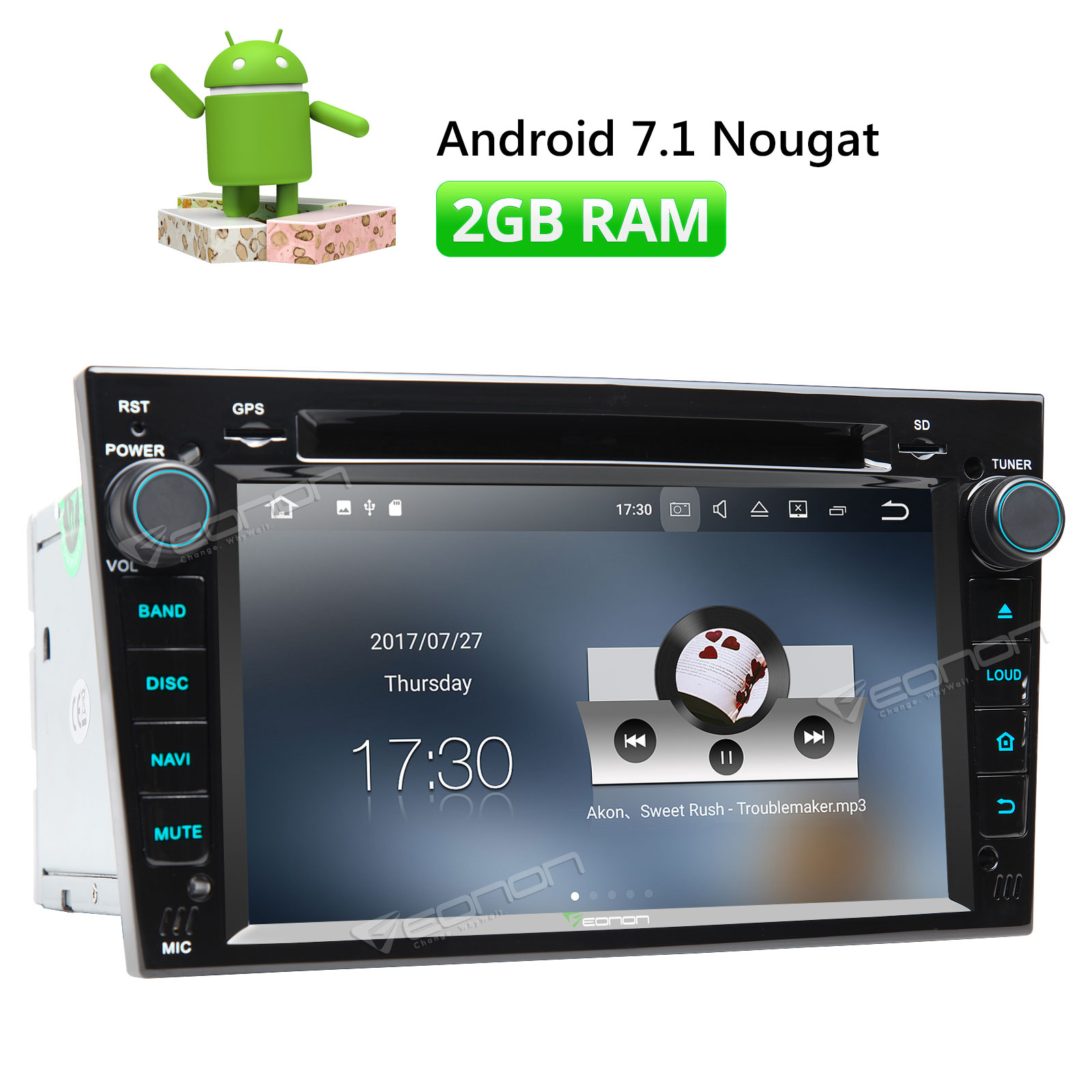 eonon black ga8156 7 android 7 1 in dash car stereo gps navigator radio for opel [ 1600 x 1600 Pixel ]