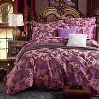 보라색 꽃 자카드 이불 커버 세트 퀸 사이즈 침구 세트 성인 단색 침대보 베개