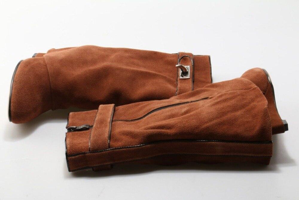 Dipsloot Top Venda 2017 Mulher Slip on Ankle Boots de Couro Camurça Dedo Apontado Altura Increassing Altas Cunhas Mulher Curto botas - 2