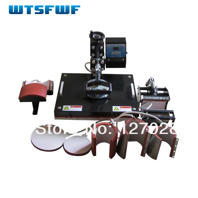 Wtsfwf Cheap 30*38CM 8 in 1 Combo Heat Press Printer 2D Thermal Transfer Printer for Cap Mug Plate T-shirts Printing wtsfwf 30 38cm 8 in 1 combo heat press printer machine 2d thermal transfer printer for cap mug plate t shirts printing