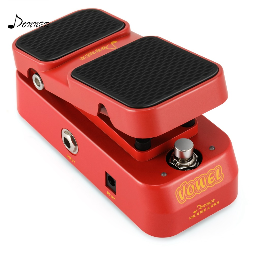 Donner 2 in 1 Vowel Mini Active Wah Volume Effect Guitar Pedal kw 1 multi function guitar 2 in 1 mini volume wah pedal toy musical instrument