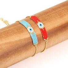 Trendy Miyuki Beads Handmade Bracelet Women Geometric Pattern Slide Charm Bracelets Female Girl Friendship Jewelry Pulsera