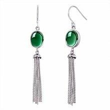 Elegance Crystal Long Drop Tassels Earrings For Women Green Crystal Gemstone 925 Sterling Silver Fine Earrings For Wholesale