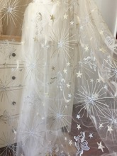 5 yards Soft Tulle Lace Fabric ,Star Horse Floral Embroidery Metallic Bridal Gown in Champagne 150cm wide