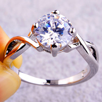 Free Shipping Wholesale Round Cut White Topaz 925 Silver Ring Size 6 7 8 9 10 Fashion Popular New Saucy Jewelry For Women