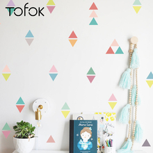 Tofok 54pcs/set Creative Triangle Color Wall stickers Children Room Living DIY Decals Girl Favors Decorations