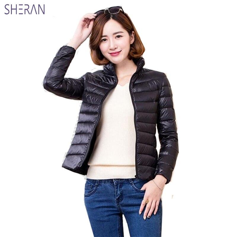 SHERAN 2018 nouveau hiver femmes vestes courtes mode Slim Ultra léger vers le bas dame Outwear grande taille vêtements décontracté solide manteau femme