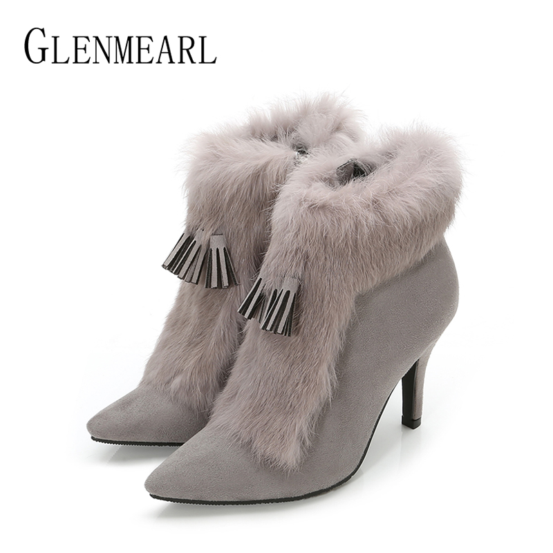 Women Boots Winter Shoes High Heels Real Rabbit Fur Woman Ankle Boots Pointed Toe Fashion Tassel Warm Plush Winter Boots Size DE