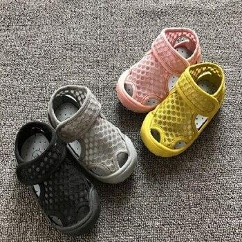 As2018 летняя детская одежда обувь с закрытым носком для маленьких мальчиков сандалии спортивные кожаные мальчиков сандалии обувь