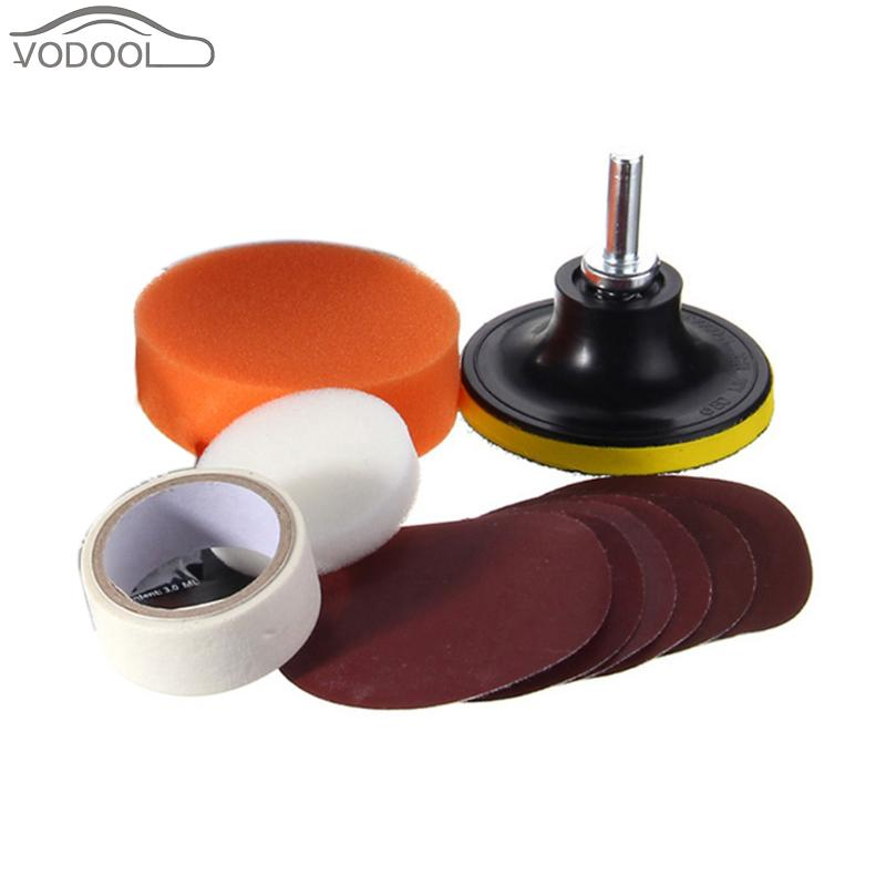 Car Headlamp Lens Polish Kit Motorcycle Headlight Restoration Sponge Sanding Disc Liquid Set Auto Light Lamp Cleaning Tools