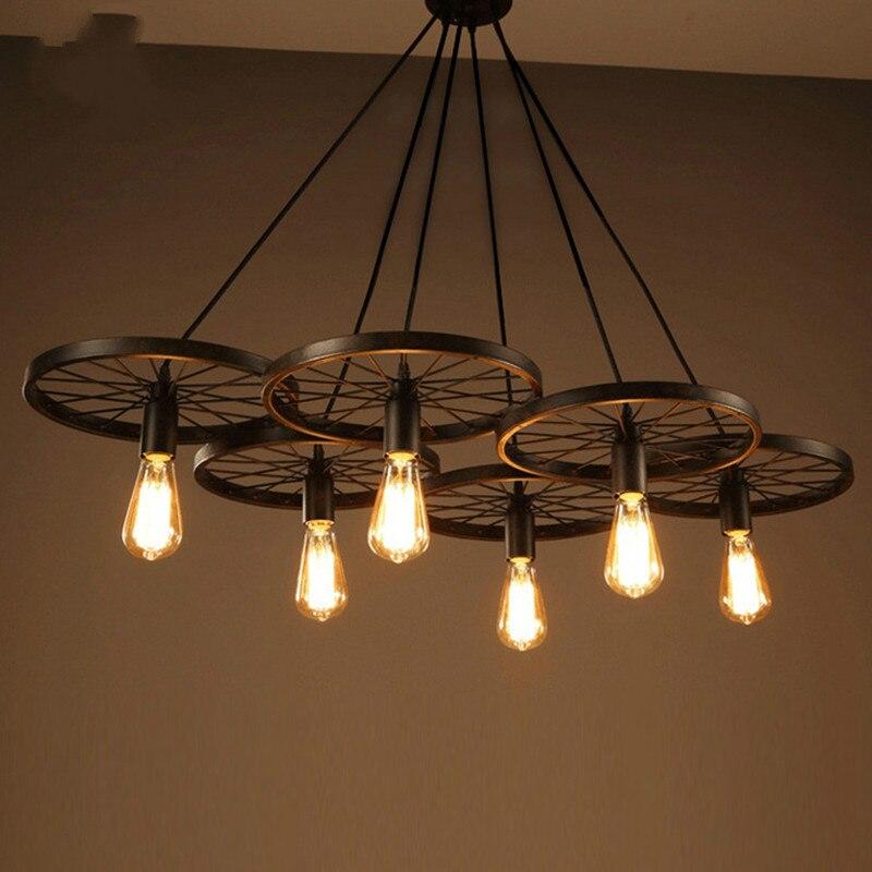 Eusolis Vintage Wiel Hanglamp Classic Loft Lichten Pendant Lights Modern Lighting Vintage Pendant Lamp Lampara Colgante Avize цена