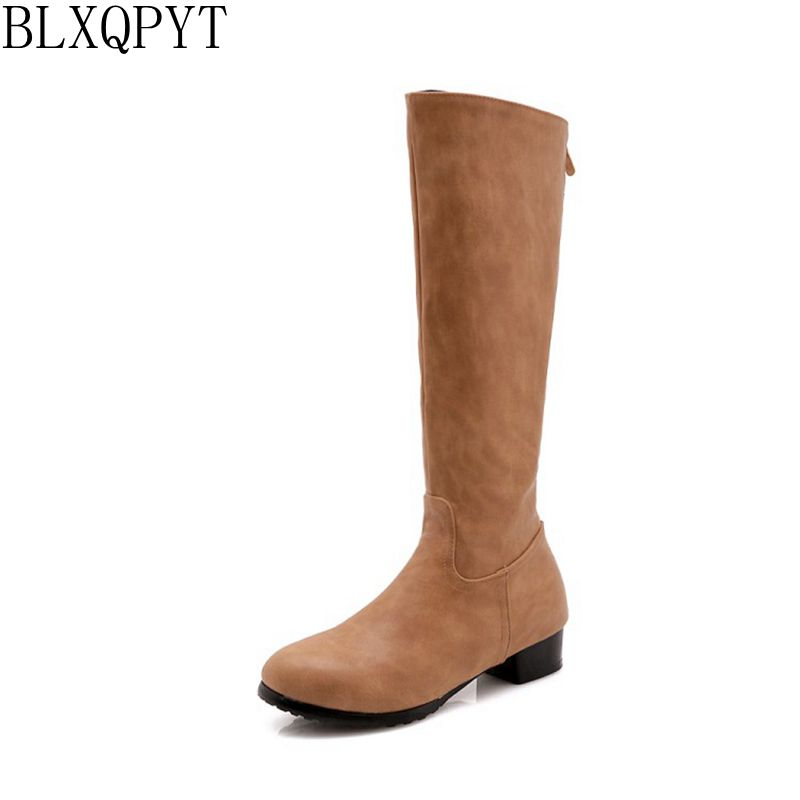 BLXQPYT 2018 New Big size 32-47 Autumn Winter Knee- high Boots Women Shoes Round Toe low heel Long causal Boots 218-31 цены