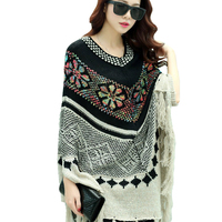 CHot SaleNew Fashion 2016 Autun Winter Women Oversized Wool Pullovers Sweaters Bat Sleeve Shawl Poncho C169