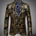 Homens Blazer 2016 nova chegada vestido de jaqueta de homens Paisley Blazer de veludo ouro de dois homens
