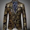 Mens Blazer 2016 nuevo oro de la llegada chaqueta de traje hombres Paisley chaqueta de terciopelo etapa del vestido de boda dos botones de hombre