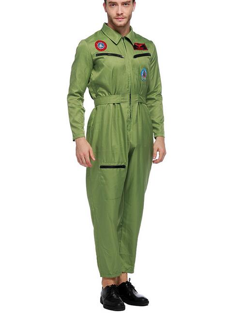 free shipping 2017 fashion halloween cosplay costume pilot uniforms army green size m xl - Halloween Army Costumes
