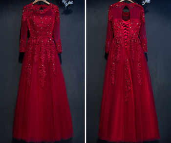 C.V New arrival Bridal evening dress plus size lace embroidery ball gown long-sleeve banquet evening formal dress E0022