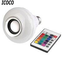 ICOCO 1 sztuk Bezprzewodowe E27 Bluetooth Zdalnego Sterowania Mini LED Smart Audio głośnik Kolor Światła Ciepła Żarówka RGB Muzyka Lampa LED Żarówki Sprzedaż