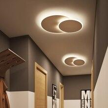 Вращающиеся ультратонкие современные светодиодные потолочные лампы для прохода, коридора, спальни, коричневого/белого цвета, потолочные светильники