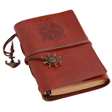 MC 2017 Spiral NoteBook Newest Diary Book Vintage Pirate Anchors PU leather Note Book Replaceable Xmas Gift Traveler Journal