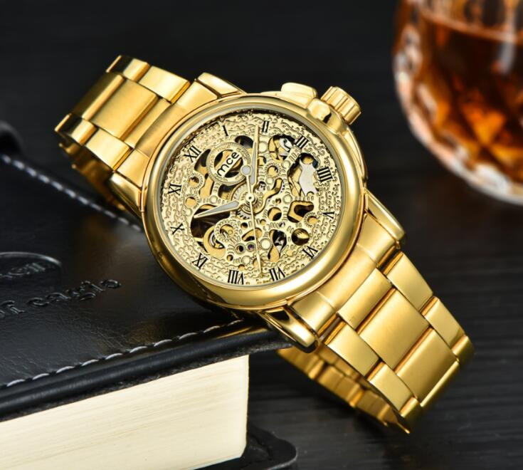 3d Logo Design Hollow Engraving Black Gold Case Leather Skeleton Mechanical Watches Men Luxury Brand Relogio Masculino 2018 все цены