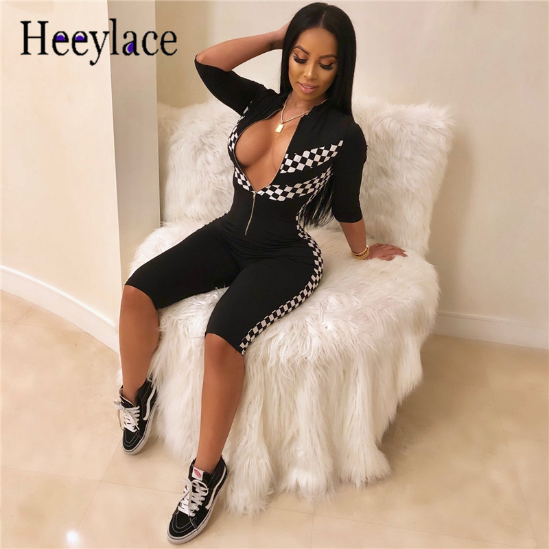 34b73cd113 Plaid Print Bandage Bodycon Bodysuit Motorcycle Racing Wear Zipper Rompers  Womens Jumpsuit Sexy One Piece Outfits Catsuit Summer