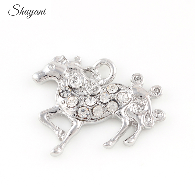 25*22mm Vintage Silver Crystal Horse Charm Pendant Jewlery Findings Charm Pendants For Bracelet Necklace Jewelry Making Handmade