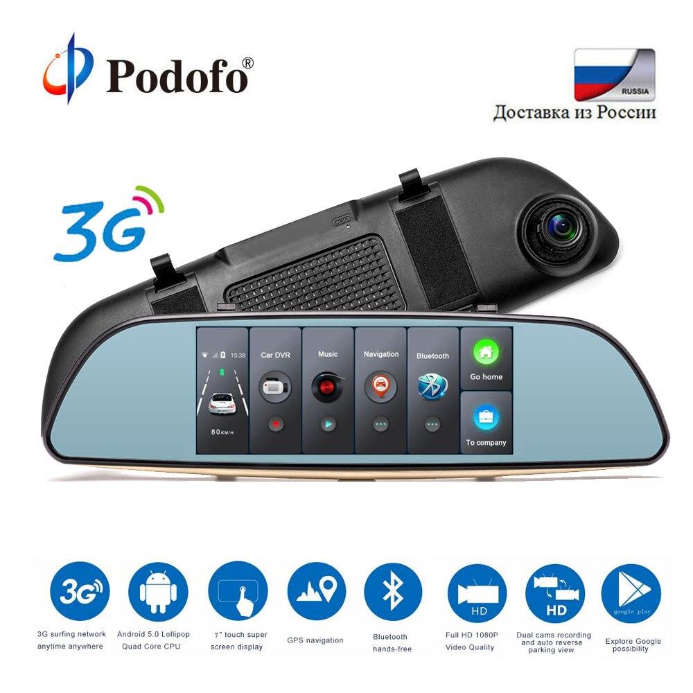 Podofo автомобиля Dashcam двойной приборной панели камера регистраторы сенсорный экран заднего вида HD gps Bluetooth Wi Fi Android парковка мониторы зеркало