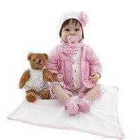 OCDAY 55 см силикона Reborn Baby Doll тело ткань с плюшевый мишка дети Playmate подарок для девочек Baby Alive игрушки Симпатичные reborn