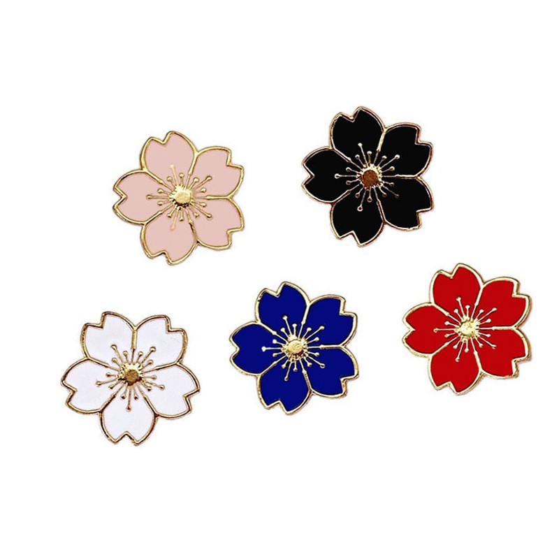5pcs Cute Japnese JK School Uniform  Sakura Badges Brooches Blossom Metal Badge Pin Clothing Accessory Anime Cosplay Props