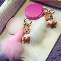 New Fashion Bear Real Fox Fur Leather Mirror Keychain Car Key Chain Key Ring Women Bag Accessories Free Shipping
