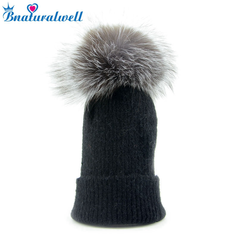 Bnaturalwell Toddler Infant Winter Hats Real Fox Fur Pompom Hat Baby Boy Girls Knitted Cap Kids Child Thick Warm Beanies H011S ycfur winter fur hats women stripes real rex rabbit fur beanies hats with silver fox fur trims top fur caps female page 5