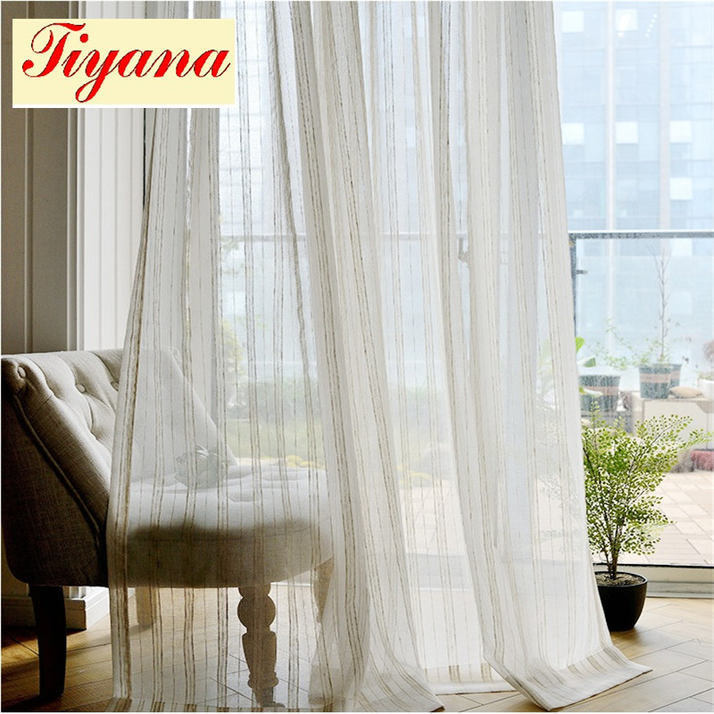 Modern Fancy Linen Curtain Tulle For Decoration White