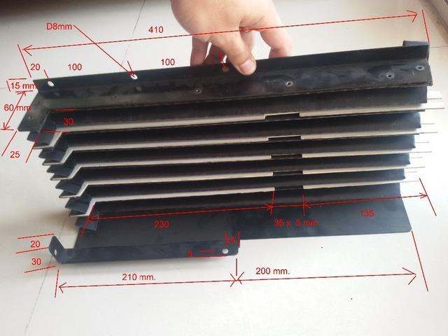 2016 maßschneider akkordeon staubschutz für cnc-werkzeugmaschine mit nylongewebe, pvc unterstützung, laserschneiden metallverbindung platten