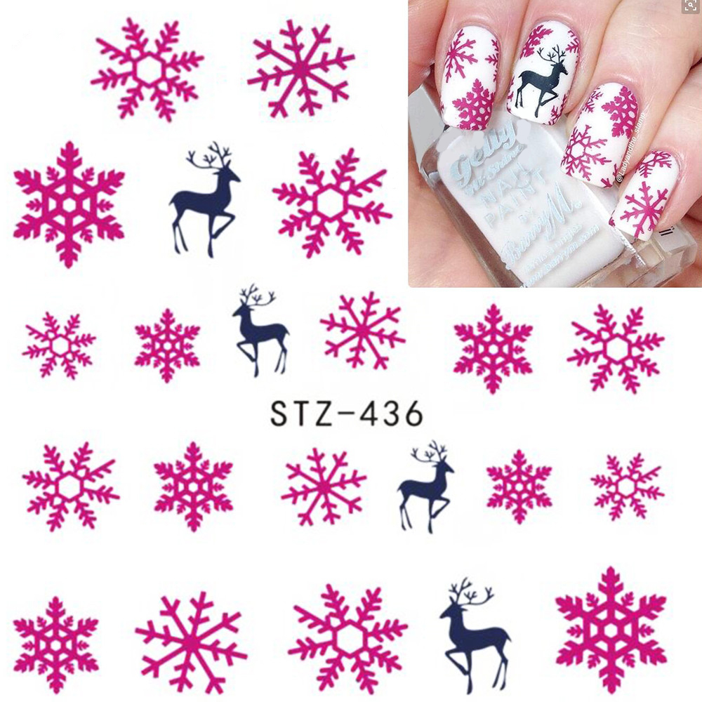 1 Sheet Christmas Snow Flower Nail Art Water Transfer Stickers Decals Tattoo Watermark Nail Tips Decor Xmas Gift LASTZ415-439 1