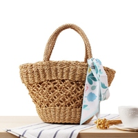 Small hand woven woven beach bag ethnic style hollow scarves small fresh straw bag travel vacation photo leisure bag
