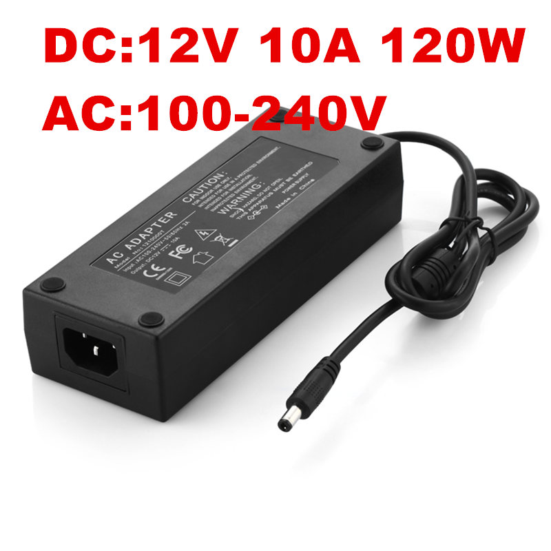 цена на 5PCS AC100-240V to DC 12V 10A 120W Power Adapter 12v10a Ac Adapter US EU UK AU plug AC line 1.2M + DC line 1.2M
